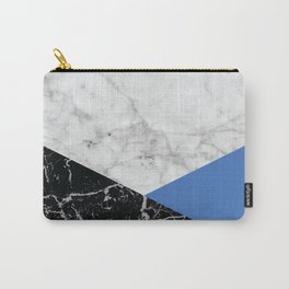 Geometric White Marble - Black Granite & Blue #509 Carry-All Pouch