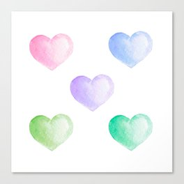 Valentine day sweet watercolor hearts Canvas Print