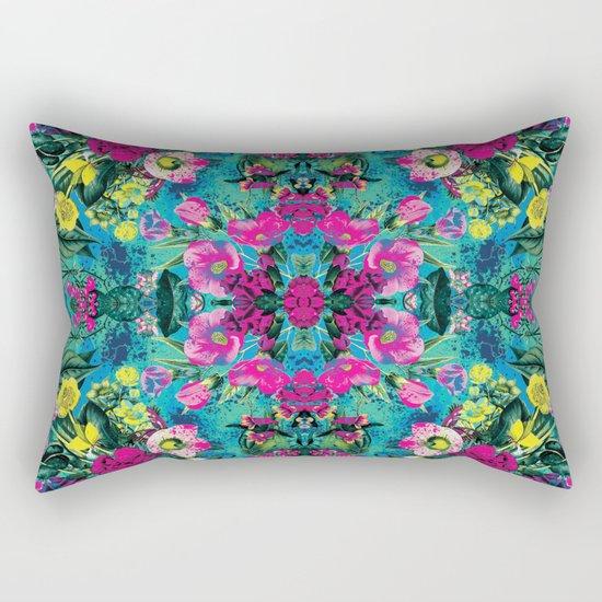 Neon Floral Rectangular Pillow
