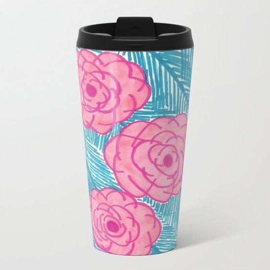 Tropical Palm Leaves and Roses Print Metal Travel Mug