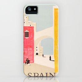 Spain Vintage Travel Poster Mid Century Minimalist Art iPhone Case