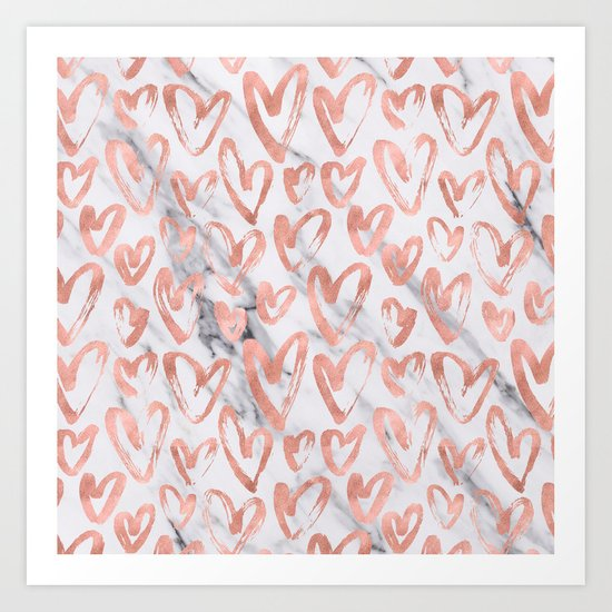 Hearts Rose Gold Marble Art Print