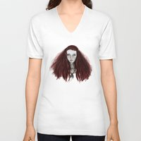 redhead V-neck T-shirts featuring Redhead by AParry