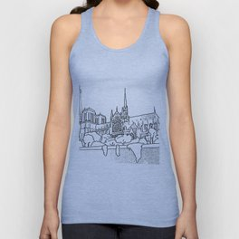 Notre Dame and Eiffel Tower travel scene Unisex Tank Top