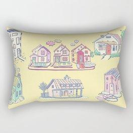 Pastel Houses Rectangular Pillow