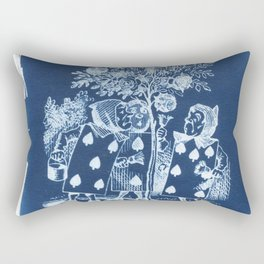 Painting the Roses Red Cyanotype Rectangular Pillow