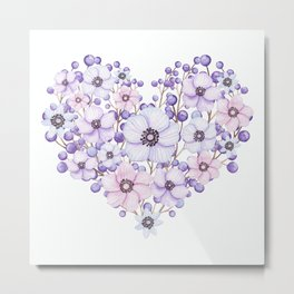 Violet and Pink Floral Heart Metal Print