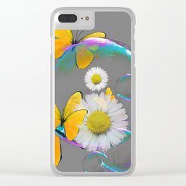 YELLOW BUTTERFLIES  DAISIES & SOAP BUBBLES GREY COLOR Clear iPhone Case