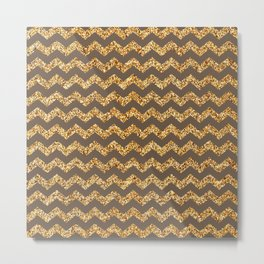 Rose Ebony Gold Glitter Chevron Pattern Metal Print