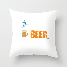 Funny Ski Beer Repeat Skiing & Skiers Throw Pillow