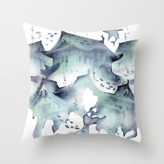 Underwater Temple Throw Pillow
