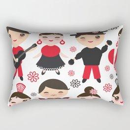 Spanish flamenco dancer. Kawaii cute face with pink cheeks and winking eyes. Gipsy Rectangular Pillow
