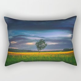 Lonely tree in the field Rectangular Pillow