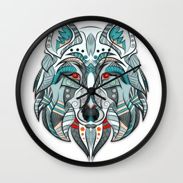 Wolf illustration green/red Wall Clock