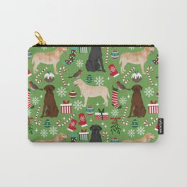 Labrador retrievers christmas festive holiday gifts for dog lover in your life dog breeds custom art Carry-All Pouch