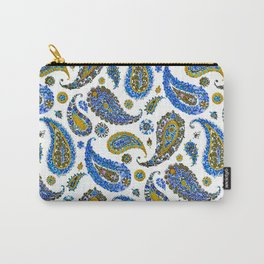 Blue Gold Garden Floral Paisley Carry-All Pouch