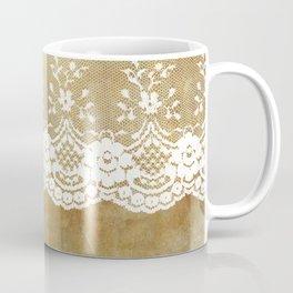 The elegant lady- White luxury foral lace on grunge backround Coffee Mug