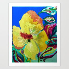 Birthday Acrylic Yellow Orange Hibiscus Flower Painting with Red and Green Leaves Art Print