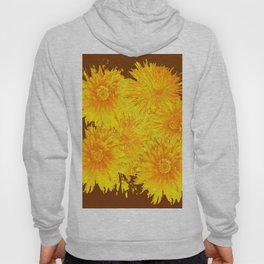 ABSTRACTED COFFEE BROWN   FIRST SPRING YELLOW DANDELIONS Hoody