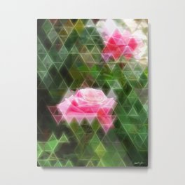 Pink Roses in Anzures 5 Art Triangles 2 Metal Print