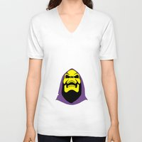 skeletor V-neck T-shirts featuring Skeletor Antlers by Iamzombieteeth Clothing