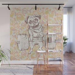 Pug Lift Camo Pink Wall Mural