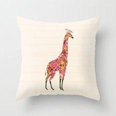 Pink Giraffe Throw Pillow