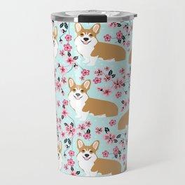 Corgi cherry blossom florals dog must have cute welsh corgis gifts pure breed Travel Mug