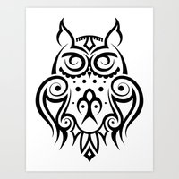 Tribal Owl 3 Art Print