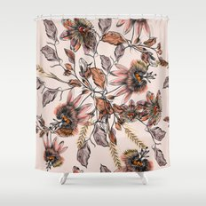 Tropical drawings of pasiflora flowers Shower Curtain