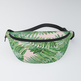 Green palm leaves on a light pink background. Fanny Pack
