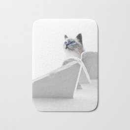 White Cat on the Roof Bath Mat