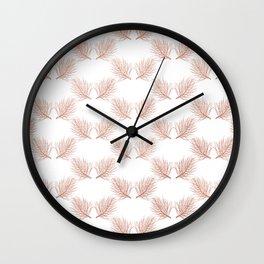 Modern elegant botanical rose gold pine tree leaves Wall Clock