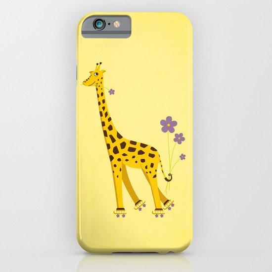 Yellow Funny Roller Skating Giraffe iPhone & iPod Case