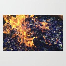 Fire on Blue Rug