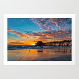 December Skies at Newport Pier Art Print