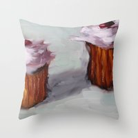 cupcakes Throw Pillows featuring Cupcakes by scott french studio