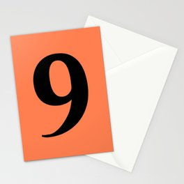 9 (BLACK & CORAL NUMBERS) Stationery Cards