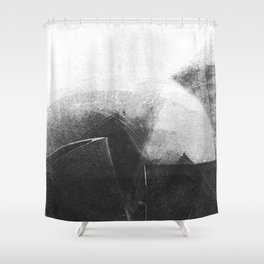Black and White Contrast Textured Abstract Shower Curtain