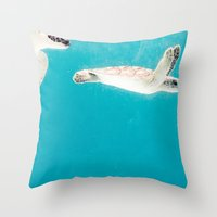 turtles Throw Pillows featuring Turtles by Loaded Light Photography