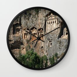 Lycian Tombs at Dalyan Close Up Wall Clock