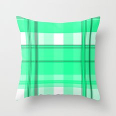 Shades of Light Green and Gray Plaid Throw Pillow