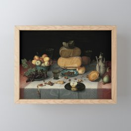 Still Life with Cheese, grapes, wine, bread and more. Finest art from the 17th century. Framed Mini Art Print