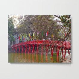 Red Bridge Hoan Kiem Lake Metal Print