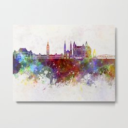 Ottawa V2 skyline in watercolor background Metal Print