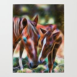 Horse kisses Poster