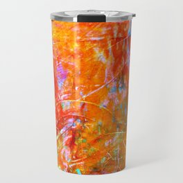 Abstract with Circle in Gold, Red, and Blue Travel Mug