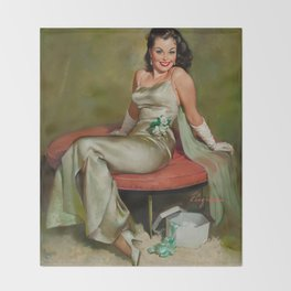 Pin Up Girl in Pretty Satin Dress Throw Blanket