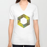 hexagon V-neck T-shirts featuring Hexagon by Daniel DeVinney
