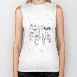 Ethnic arrows, feathers and beads. American indian motifs. Boho style. Freedom concept. Biker Tank